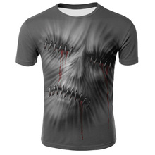 Summer Men T-shirts Casual O-neck Short Sleeve Tee Tops Hip Hop Style Clothes Fashion Streetwear Skull 3D Printing T-Shirt Male men contrast neck tee