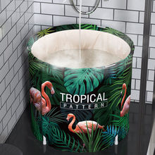 Bathtub Folding Adult Baby Child Portable Non Inflatable Bath Tub Comfortable Household Tub Shower Tray Tropical Jungle Flamingo цена 2017