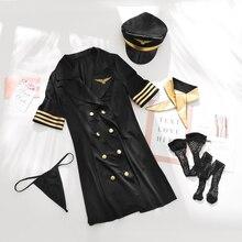 Flight Attendant Rolle Spielen Kleid Frauen Erotische Cosplay Uniform Kostüm Sexy Dessous Porno stewardess Nachtclub anzug Für Paar
