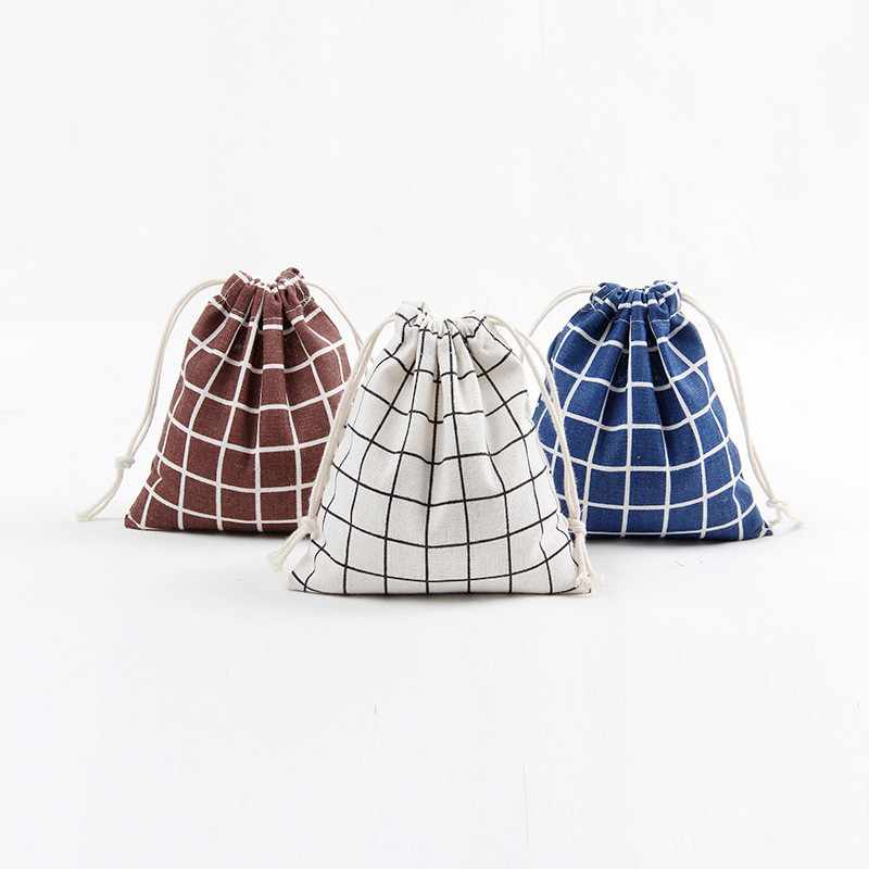 1pc Cotton Storage Bag Pure Color Grid Drawstring Travel Makeup Pouch Shoes Bag