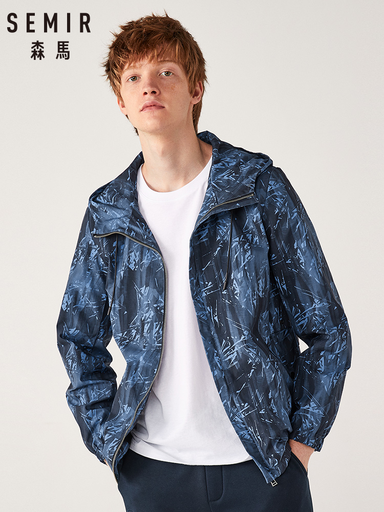 SEMIR Jacket Men 2020 Spring New Tide Brand Hip-hop Hooded Jacket Teen Printed Casual Fashion Outwear For Man