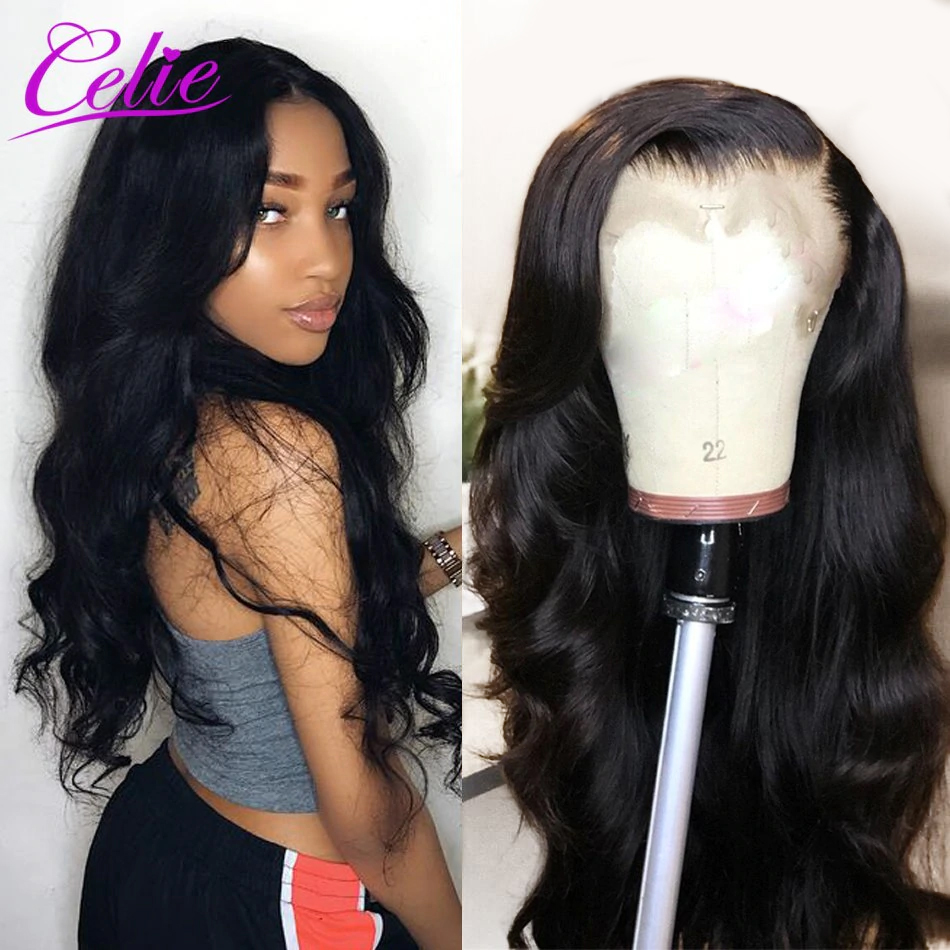 Celie Body Wave Wig Lace Front Human Hair Wigs Pre Plucked 360 Lace Frontal Wig 150 180 250 Density Brazilian Lace Front Wig strap