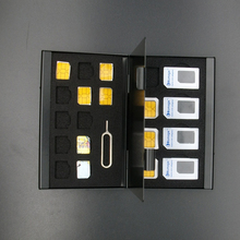 21 in 1 Aluminum Portable SIM Micro Pin SIM Card Nano Memory Card Storage Box Case Protector Holder SIM Card Phone Card Case