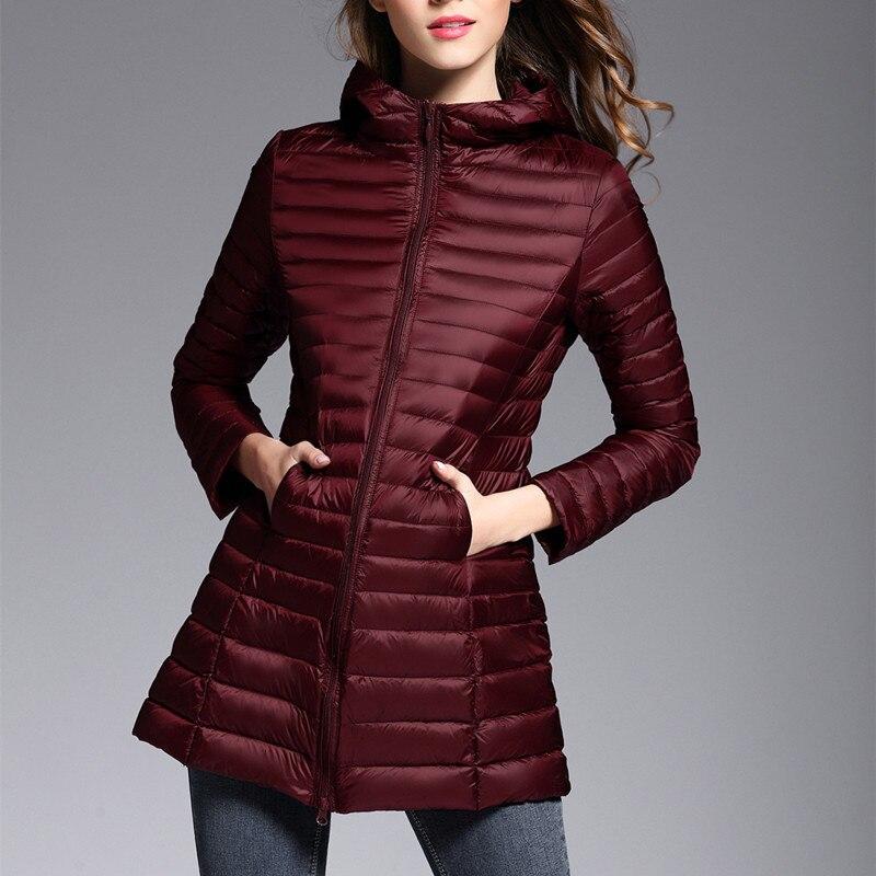 Korean Fashion White Duck Down Jackets Winter Jacket Women 2020 Autumn Thin Coat Hooded Clothes Jaqueta Feminina LWL743