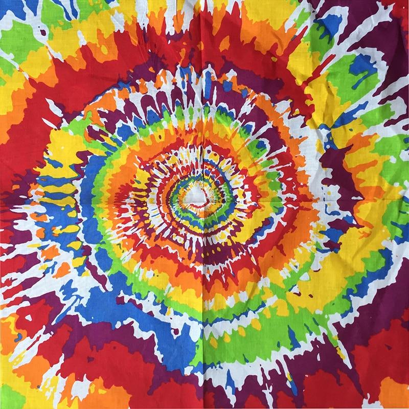 Rainbow Tie Dye Women Foulard Hip Hop Cotton Square Scarf Bandana Swirl Headband Scarf Gradient Color Gifts For Men/Boys/Girls