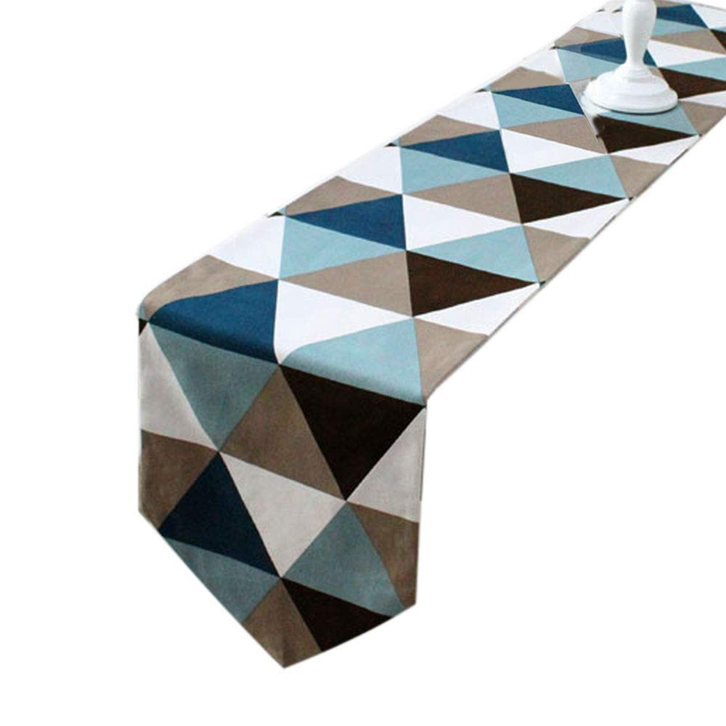 Modern Geometric Triangle-Pattern Table Runner - Polyester Fabric Table Top Decoration Home Decor
