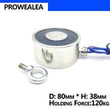 Elektromıknatıs 80/38 DC 6V 12V 24V silindir elektrikli mıknatıslar 120KG güçlü elektromanyetik Solenoid enayi olmayan standart özel