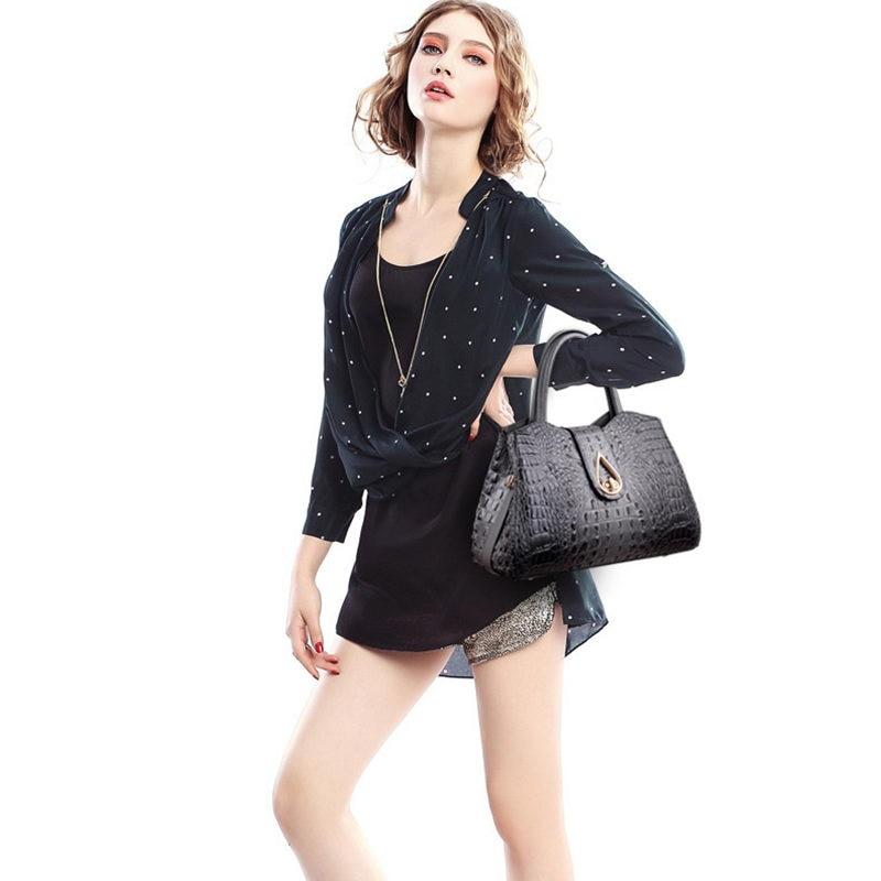 Mododiino Luxury Crocodile Pattern Women Handbag Designer Leather Bags Women Shoulder Bag Crossbody Bag Top Handle Bags DNV1176 in Top Handle Bags from Luggage Bags