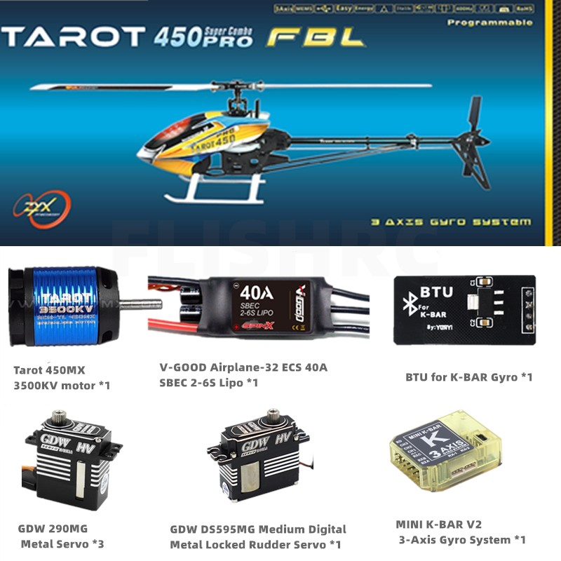 Tarot 450 FBL Super Combo PRO V2 GDW DS290MG and GDW DS595MG with BTU