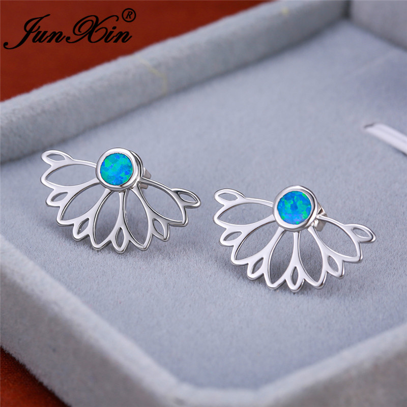 Detachable Maple Leaf Double Sided Earrings White Gold Rose Gold Color Blue Fire Opal Earring Wedding Stud Earrings For Women
