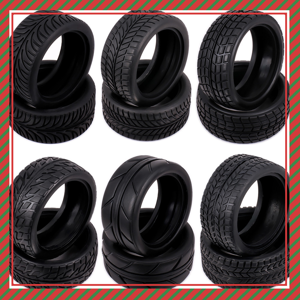 Natural Rubber Tire Tyre For Rc Hobby 1/10 On Road Racing Car HSP Himoto HPI Traxxas Redcat Kyosho Inner Diameter 52mm Drifting
