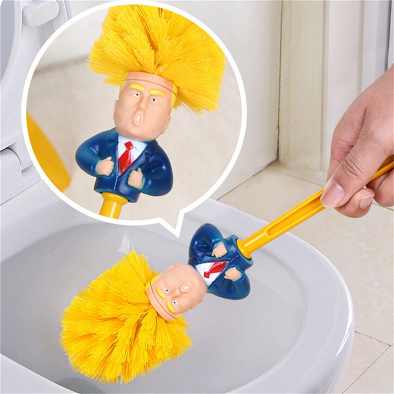 Funny Macron Donald Toilet Brush Base Toilet Supplies Bathroom Cleaning Tools WC Home Hotel Bathroom Cleaning Accessories