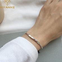 XIYANIKE-pulsera de plata de ley 925 para mujer, brazalete con abalorio, joyería de personalidad, caja sencilla de moda, pulseras, regalos de fiesta