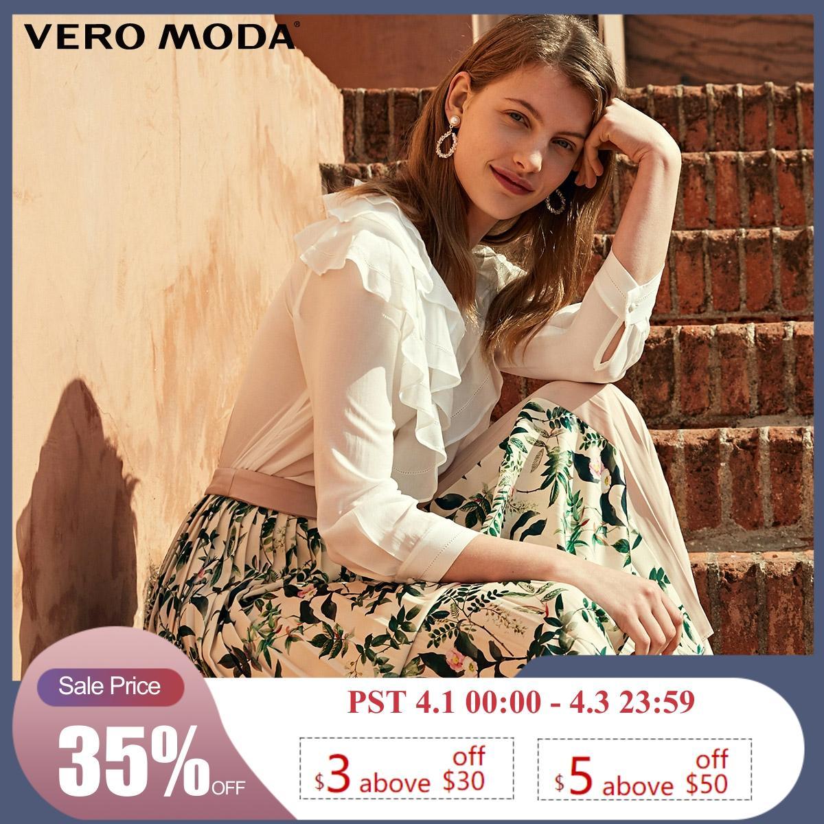Vero Moda Women's V-neckline Multi-tiered Ruffled Buckle-through Shirt   319231561