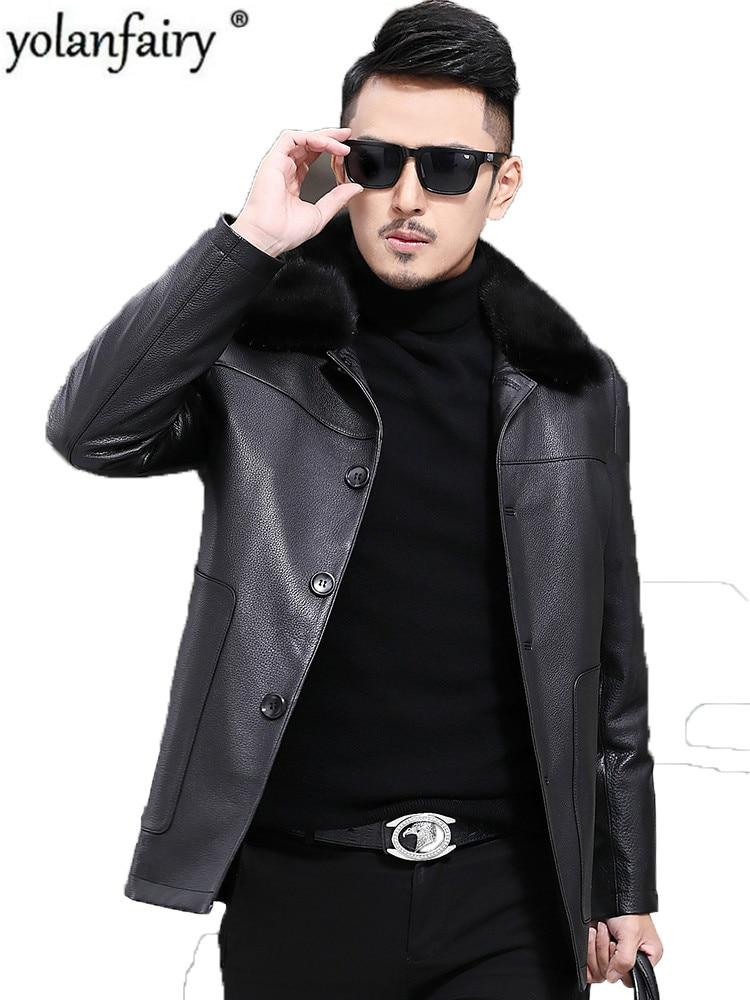 Genuine Leather Down Jacket Men Natural Rabbit Fur Liner Coat Winter Jacket Men Mink Fur Collar Cow Leather Jacket L170928MY1587