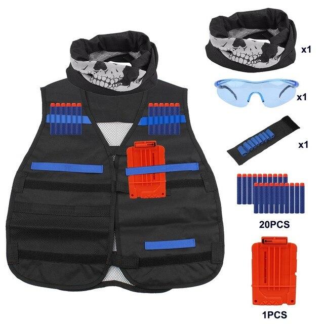 Children Black Tactical Gun Accessories Waistcoat Ammo Holder Elite Pistol Bullets Toy Clip Darts for Nerf Gun Outdoor ToysOutdoor Fun & Sports