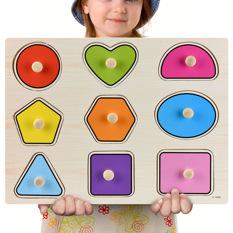Montessori Wooden Puzzles Hand Grab Boards Toys Tangram Jigsaw Baby Educational Toys Cartoon Vehicle Animals Fruits 3D Puzzles 19