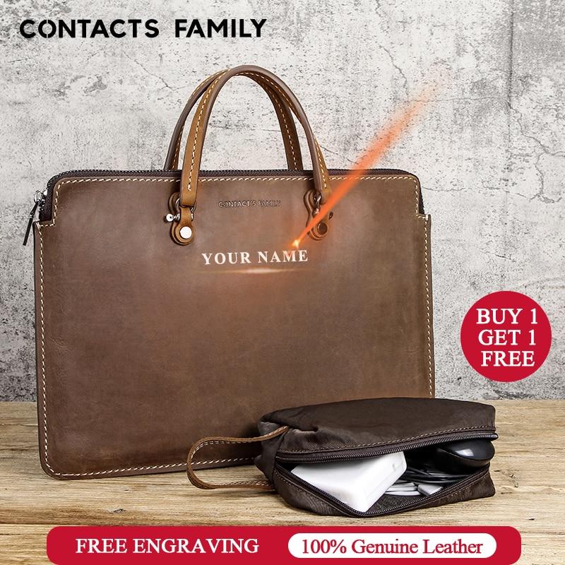 Retro Leather Briefcase 13/'/' 13.3/'/' Mens Laptop Bag Messenger Shoulder Bag Brown