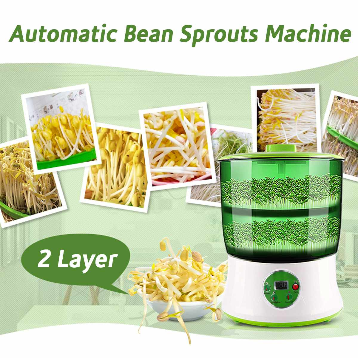 Automatic Bean Sprout Machine Two Layers US Plug Multifunctional Homemade Sprout Bud Machine Intelligent Microcomputer Control