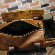 Retro Brown Bucket Travel Bags Large Crazy Horse PU Leather Handbags Shoulder Bag Men Business Luggage Bag
