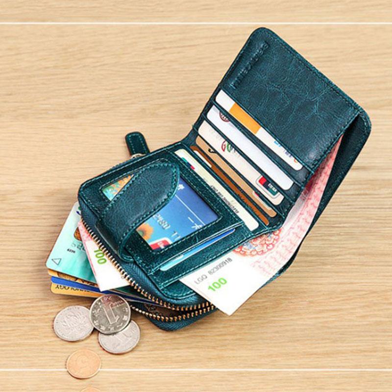 Image 5 - Billfold Oil Wax Genuine Leather Wallets Women Short Mini Clutch Purse Soild Coin Pocket Credit Card Holder Cowhide BagWallets   -