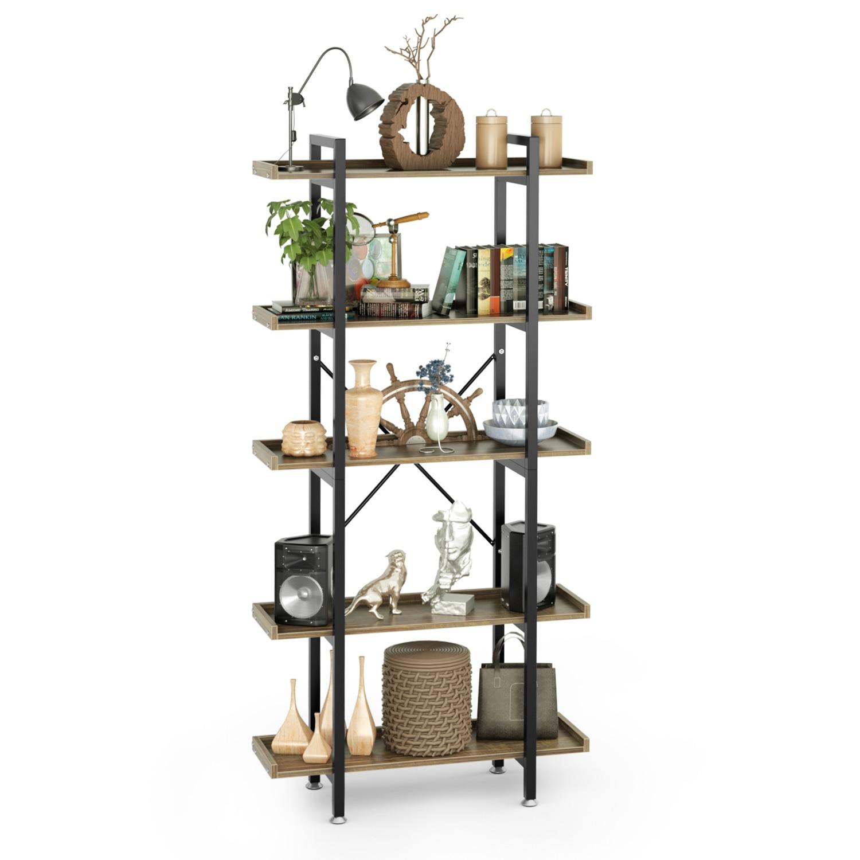 5 regal Bücherregal Industrie Bücherregal Display Open Bücherregal 70 zoll Lagerung Organizer Rack Stehend Einheit Regal für Wohnzimmer