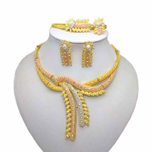Wholesale African Costume Gold Color Jewelry Set Nigerian Wedding Imitate Crystal Necklace Bracelet Earring Ring Sets 2018 nigerian wedding african beads jewelry set brand woman fashion dubai gold color jewelry set nigerian wedding bridal bijoux