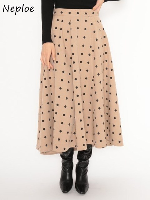 Neploe Elegant French Style Chic Polka Dot Women Skirts 2021 Autumn Winter New All-match Jupe High Waist Zip A-line Femme Skirt 1