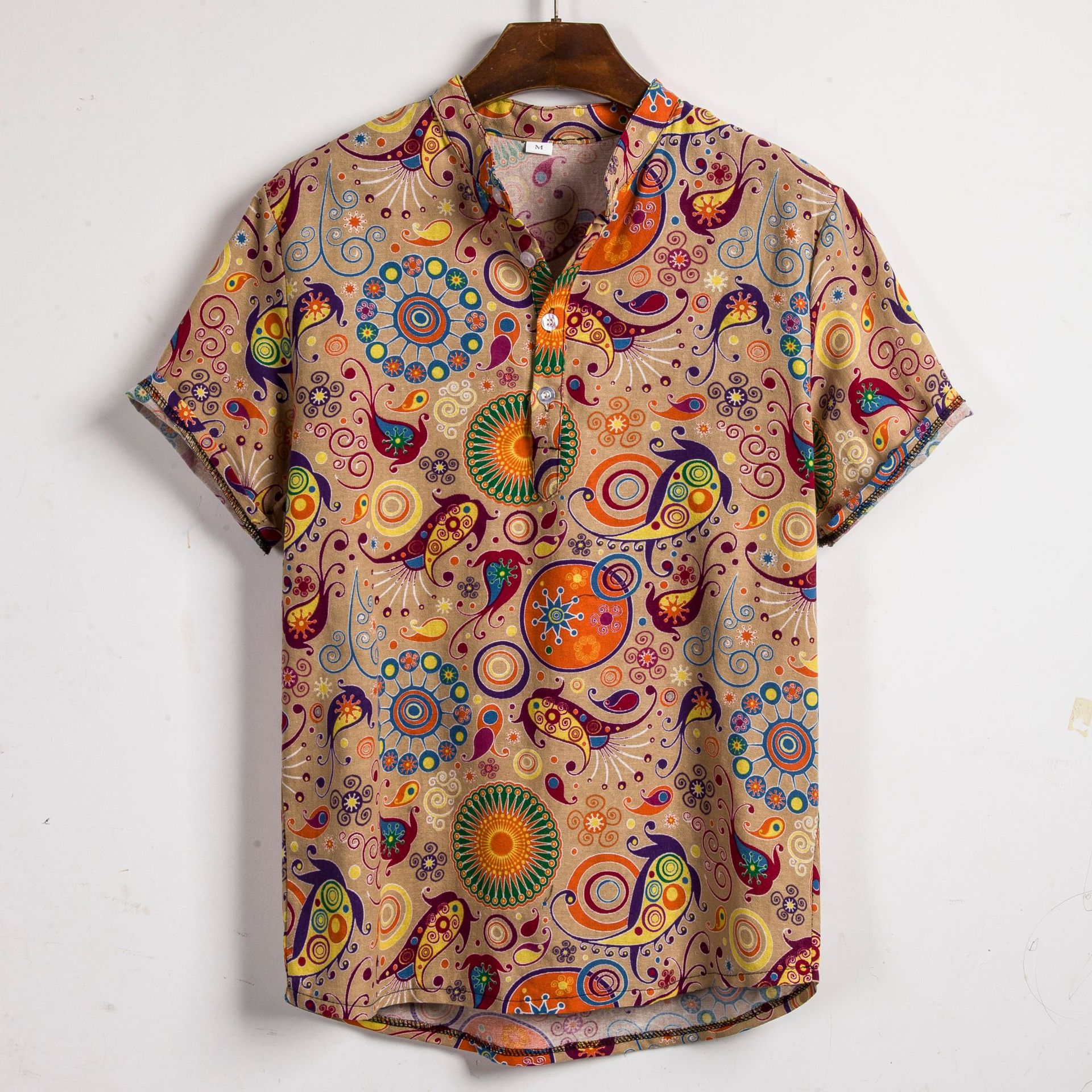 2019 Summer New Style Plus-sized Menswear Floral Pattern Slim Fit Fold-down Collar Printed Short-sleeved Shirt