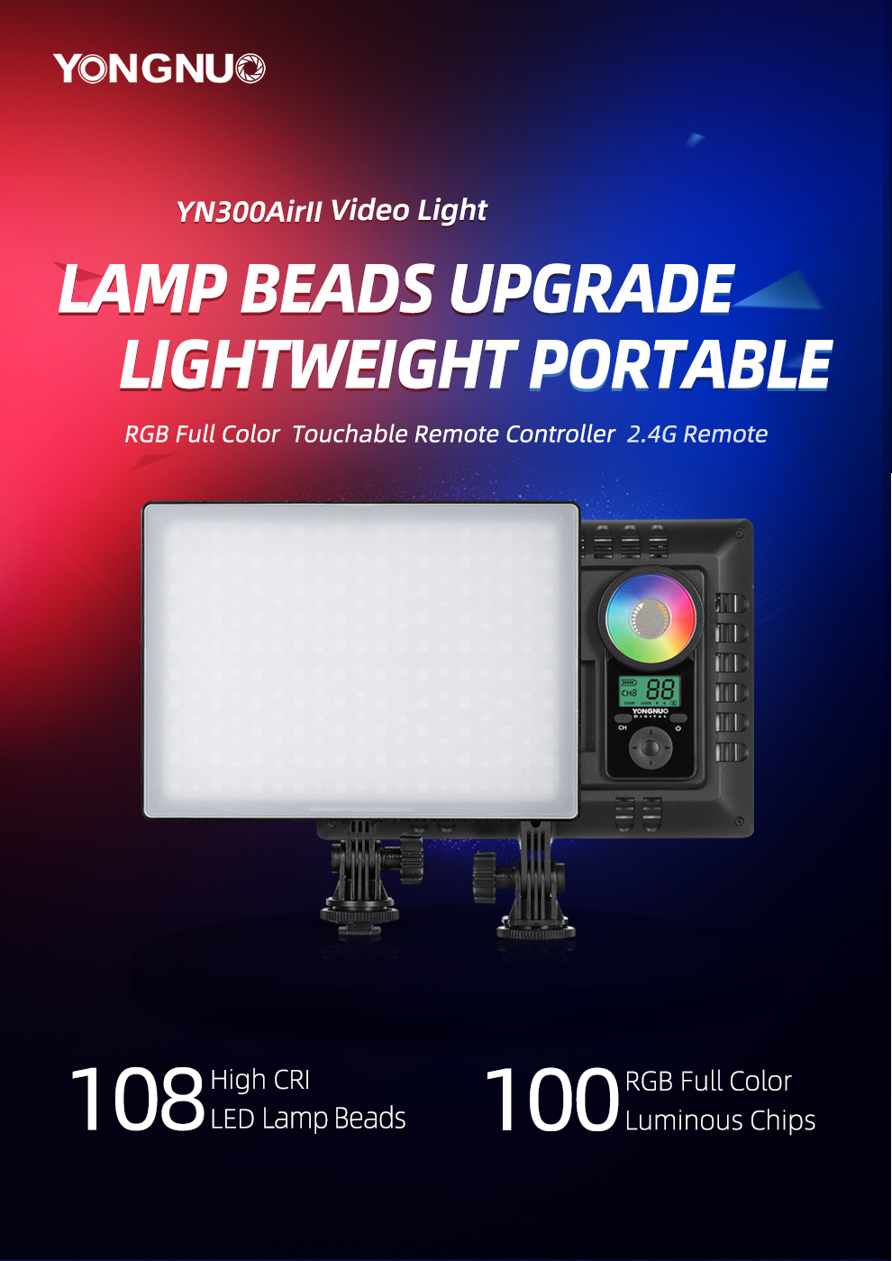 Hdd1181797e2a4ab29d3f02b3c8f569f3H YONGNUO YN300AIR II RGB LED Camera Video Light,Optional Battery with Charger Kit Photography Light + AC adapter