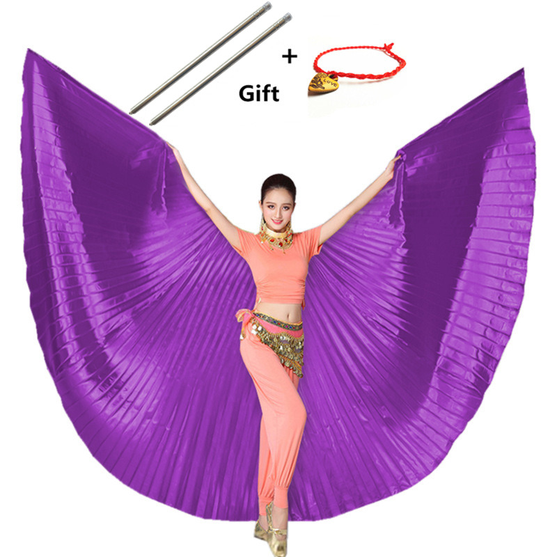 11 Colors New Style Professional Belly Dancing Wing Belly Dance Fabric Isis Wings Golden 11 Colors With Sticks Robs