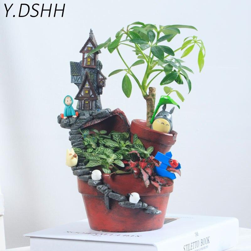 Y. DSH цветочный горшок небо сад плантатор макетерос Декор горшки для влагозапасающего растения балкон стол настольные украшения