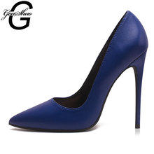 GENSHUO Women High Heels Shoes Stiletto High Heels Women Pumps Shoes Sexy Navy Royal Blue Pointed Toe Woman Shoes Chic Pump shoe