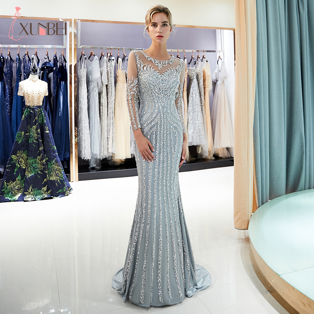 Luxury Long Sleeves Sexy Diamond Sequined Mermaid Evening Dresses Sparkly Evening Gown Real Photo Robe De Soiree Longue