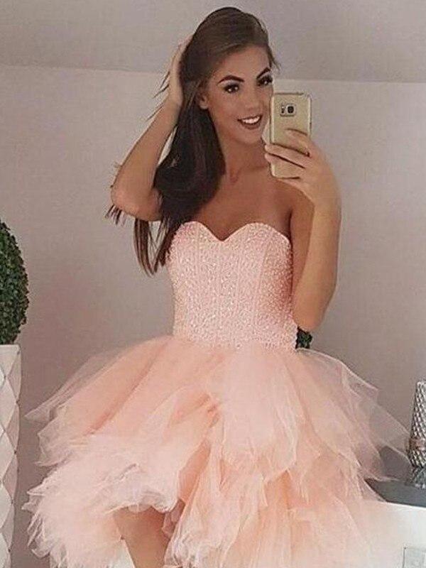 2020 Elegant Cocktail Dress A-Line/Princess Tulle Beading Sweetheart Sleeveless Short/Mini Homecoming Dresses For Dress