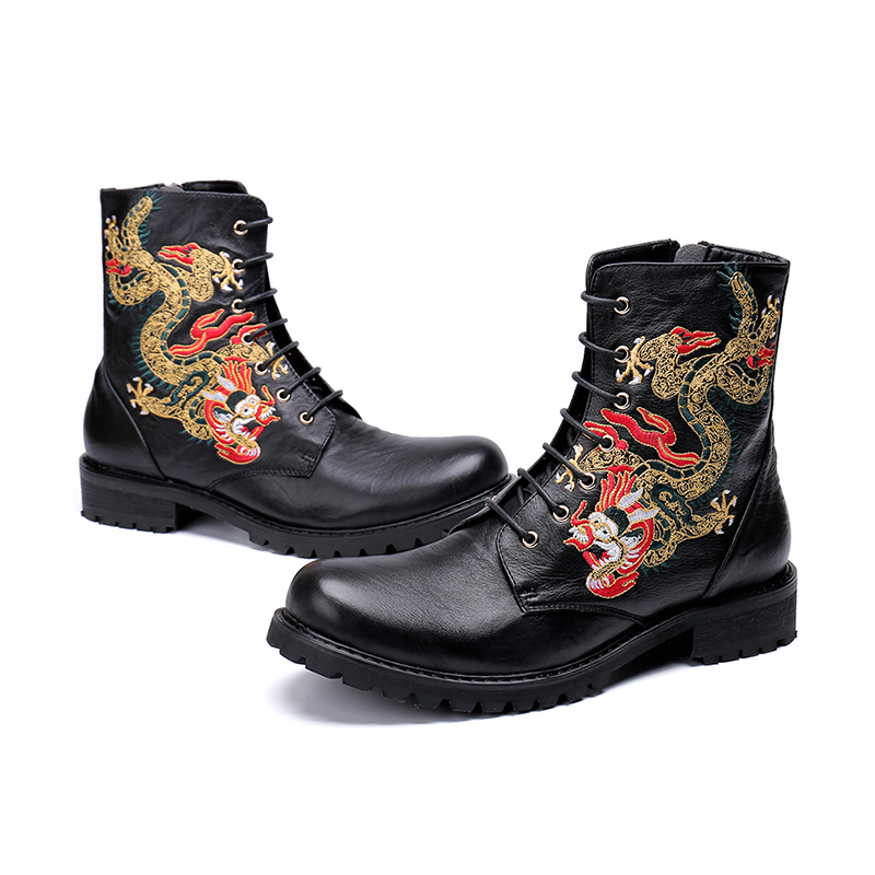 New Style Black Embroidery Lace-up Zip Ankle Boot Fashion Low Heel Oxford Round Toe Martin Boots Men Size 38-46