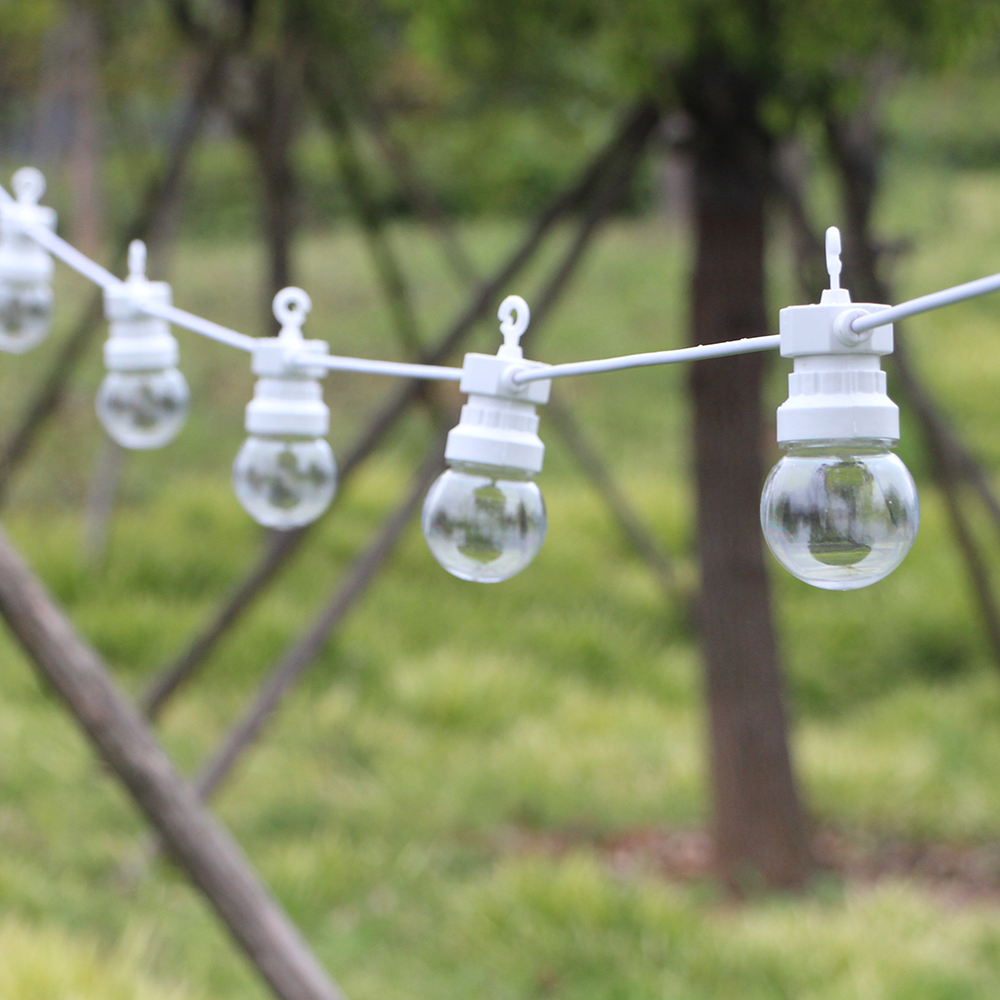 13m LED Globe Festoon String Light Fairy Outdoor Wedding Garden Party Patio Decor String Light White Wire For Hanging Camping
