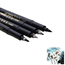 4 Pcs Chinese Japanese Calligraphy Pen Refillable Black Lettering Soft Handwriting Pen Markers Pens School Supplies Stationery 3pcs chinese japanese calligraphy brush marker or refillable black lettering marker soft handwriting pen as tombow fudenosuke