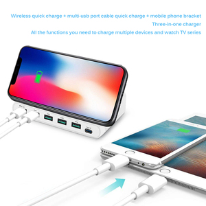 Image 4 - Беспроводное зарядное устройство Qi, 60 Вт, базовая Зарядка для Iphone X XS MAX, мульти USB, зарядное устройство для мобильного телефона, быстрая зарядка 3,0 для Samsung S9 S8