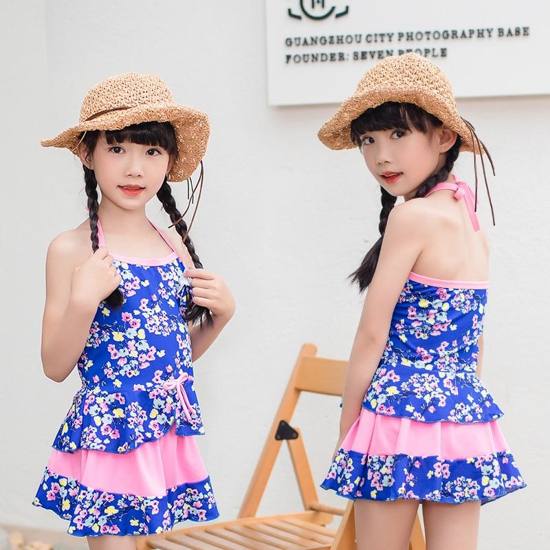 Children Skirt-Two-piece Swimsuits Two-Piece Set Big Boy Sweet Girls Boxer Sun-resistant Swimwear Wholesale NT108729