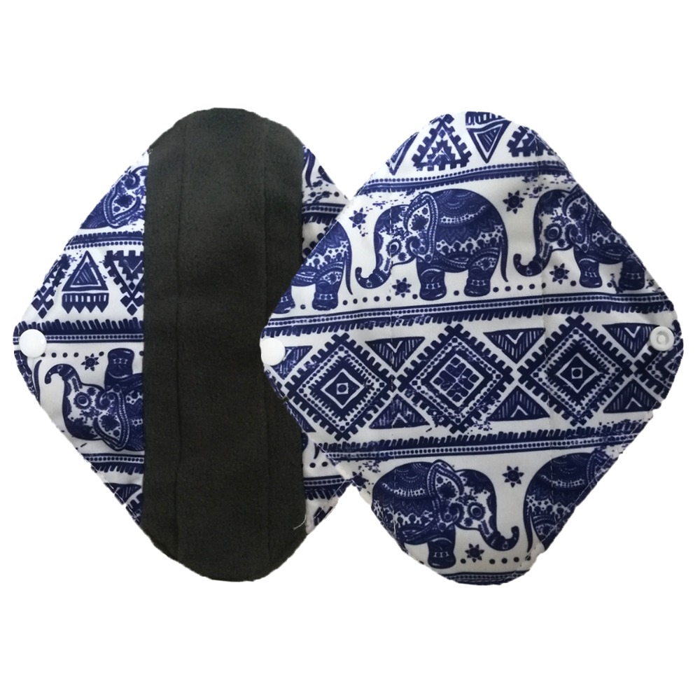 1PC Reusable Sanitary Pad Charcoal Bamboo Cloth Menstrual Pad Sanitary Towel Washable Panty Period Menstrual Pad