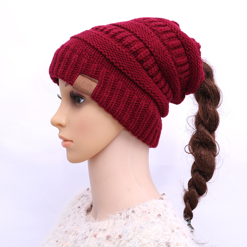 Ponytail Beanie Women Stretch Knitted Crochet Beanies Winter Hats For Women Hats Cap Warm