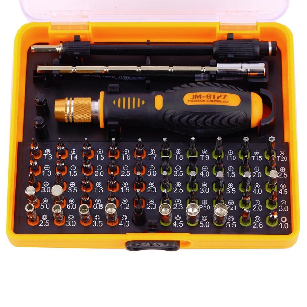 Destornillador magnético de precisión multipropósito JAKEMY 53 en 1 con Trox Hex Cross Flat Y Star para reparar el teléfono / PC