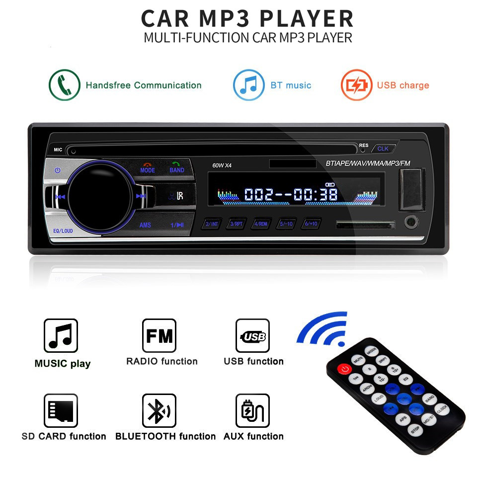 12V Bluetooth Car Radio Stereo MP3 Player Module JSD 520 Handsfree Wireless Audio Adapter 3.5mm AUX-IN FM U Disk Playing 1 Din