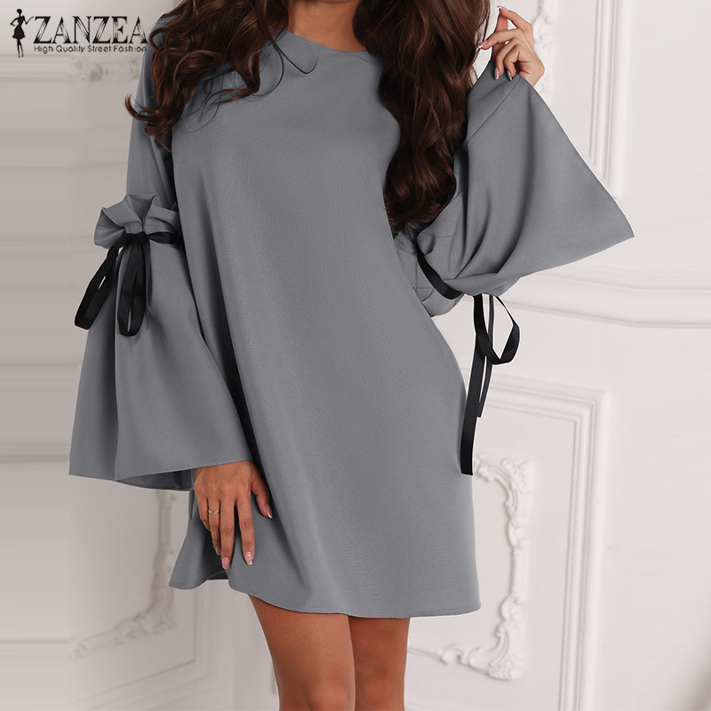 Bell Sleeve Short Dress 2019 ZANZEA Women's Casual Sundress Oversized Spring Ruffle Bow Work Vestido Female Solid Party Robe 5XL