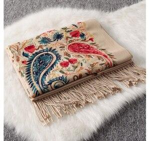 Image 2 - Luxury brand New women scarf high quality Embroider Flower winter cashmere scarves lady shawls wraps female pashmina echarpe