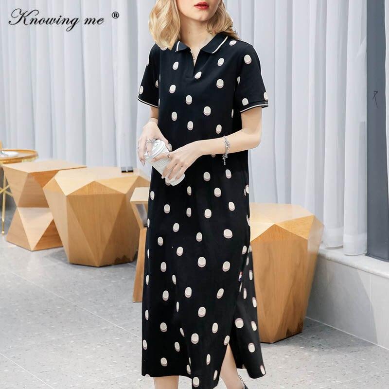 New Polka Dot Sides split Dress Women Summer Short Sleeve Polo Dress Female Casual De Mujer Femme Robe Straight Dress Festa 4XL