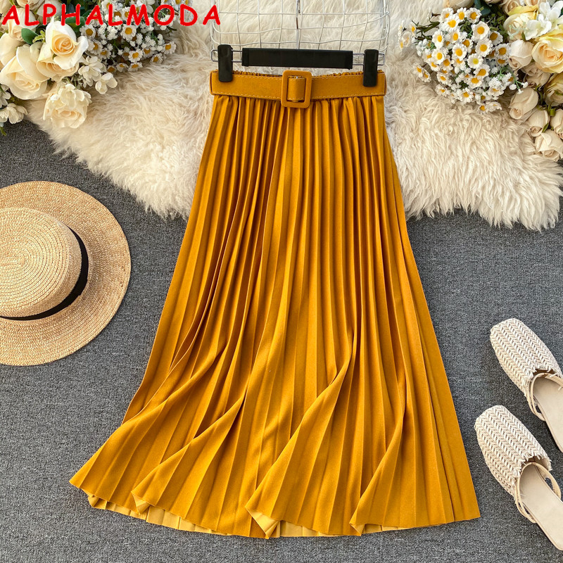 ALPHALMODA 2020 Spring Bright Color Belted Pleated Skirt Elastic High Waist Fashion Women Solid Mid-calf Pleated Skirt