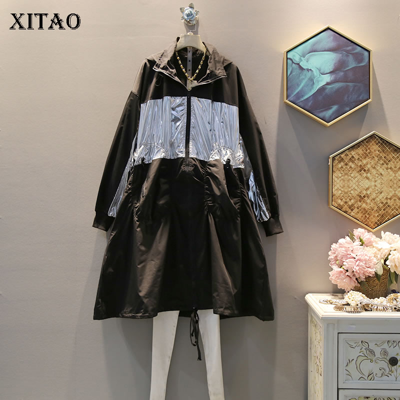 XITAO Drawstring Letter   Trench   Women Korea Fashion 2019 Autumn Patchwork Hooded Collar Elegant Casual Minority Style WQR1952