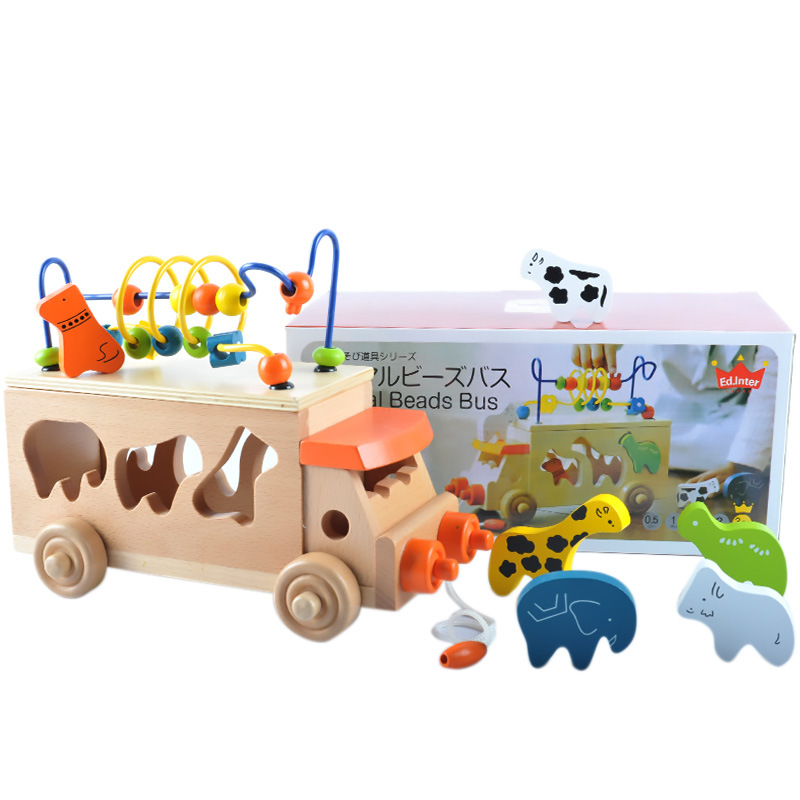 Wood Shape Cognitive Matching Building Blocks Animal Bead Maze Cart Children Early Childhood Educational Drag Toy Car